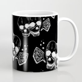GEMINI - white on black - twins  - conjoined skull zodiac series doodle Coffee Mug