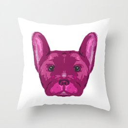 Pink Frenchie Top. Throw Pillow