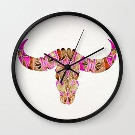 Water Buffalo Skull – Pink & Brown Wall Clock