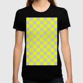 Checkered Pattern Light Gray and Vivid Lemon Yellow T-shirt