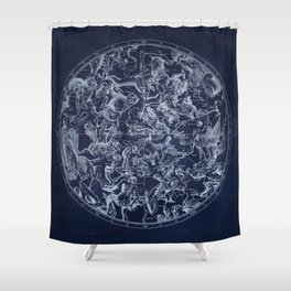 Vintage Constellations & Astrological Signs | White Shower Curtain
