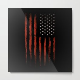 American flag Grunge Black Metal Print