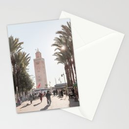Streets Of Marrakech Photo Art Print   Koutoubia Mosque Palmtree View   Morocco Travel Photography Stationery Cards