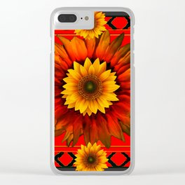 RICH BURNT ORANGE YELLOW SUNFLOWERS Clear iPhone Case