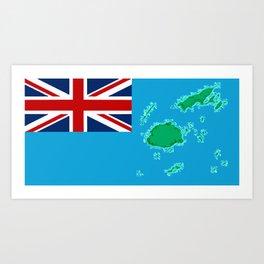 Fiji Map with Fijian iTaukei Flag Art Print
