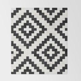 Urban Tribal Pattern No.18 - Aztec - Black and White Concrete Throw Blanket