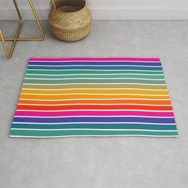 Colorful Stripes, Abstract, Retro Rainbow, Geometric Art Rug
