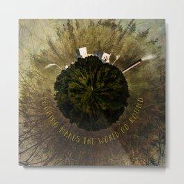 Logging Makes the World Go Round Mini Planet Orb Metal Print