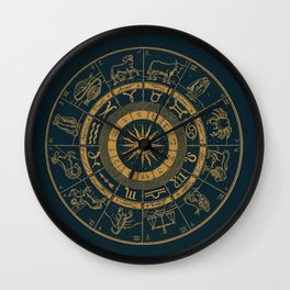 Vintage Zodiac & Astrology Chart | Royal Blue & Gold Wall Clock