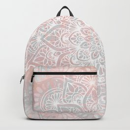 Mandala, Yoga, Love, Coral and Gray, Wall Art Boho Backpack