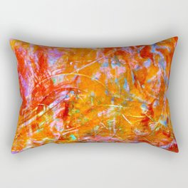 Abstract with Circle in Gold, Red, and Blue Rectangular Pillow