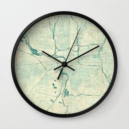 Columbus Map Blue Vintage Wall Clock