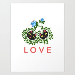 Black Cat Love Art Print