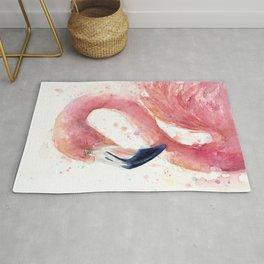 Pink Flamingo Watercolor Rug