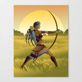 indian native african huntress archer warrior with bow and arrow in the wild Canvas Print