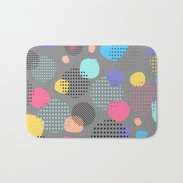 Abstract Modern Blue, Pink, Yellow Dots Pattern Bath Mat