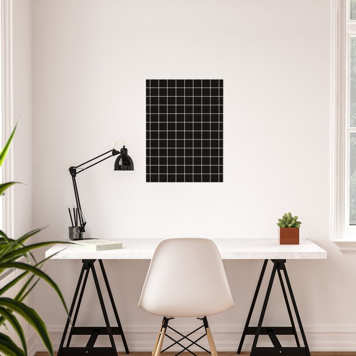 Grid Line Stripe Black and White Minimalist Geometric Poster