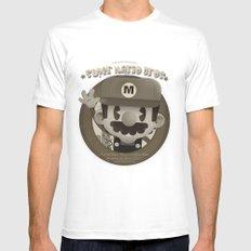Mario Bros Fan Art MEDIUM White Mens Fitted Tee
