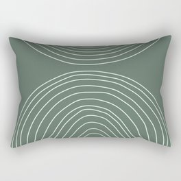 Handdrawn Geometric Lines in Forest Green Rectangular Pillow