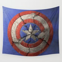 "shield Wall Tapestries featuring Captain ""Broken Shield"" America by Some_Designs"