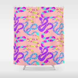 Neon Snakes on Pink Shower Curtain