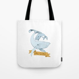 Big Love (gold and blue) Humpback Whales Tote Bag