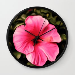 Painted Hibiscus - Red Wall Clock