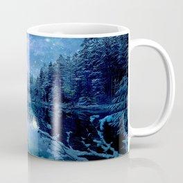 A Cold Winter's Night : Turquoise Teal Blue Winter Wonderland Coffee Mug