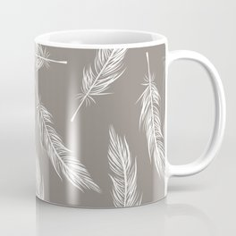 White Feather Pattern Coffee Mug