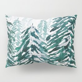 snowy pine forest in green Pillow Sham