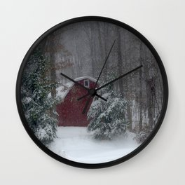 Red Barn in a Snow Storm Wall Clock