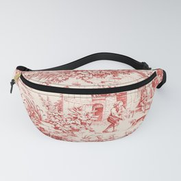 Red French Toile Fanny Pack