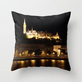 Fisherman's Bastion at night Throw Pillow