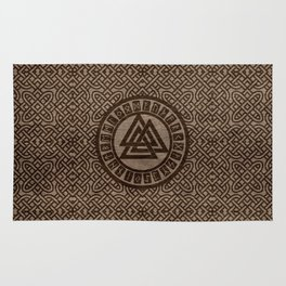 Valknut Symbol and Runes on Celtic Pattern on Wood Rug
