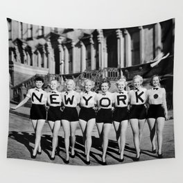 NYC Broadway Chorus Line, New York City black and white photograph Wall Tapestry