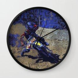 Leaning In - Motocross Racer Wall Clock