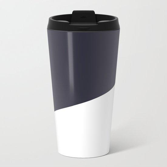 Urban Geometry Navy Blue + White Metal Travel Mug