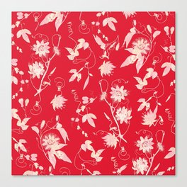 Festive Christmas Bright Red Passion Flowers Canvas Print
