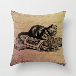 Vintage Cat Collage-Grunge Background Throw Pillow