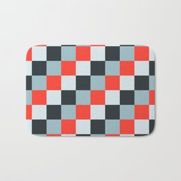 Stainless steel knife - Pixel patten in light gray , light blue and red Bath Mat