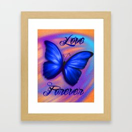 Love Forever Blue Butterfly Framed Art Print