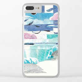 Beach with Sun and Moon Clear iPhone Case