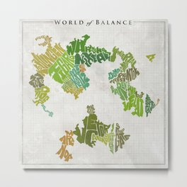 Final Fantasy VI - World of Balance Typographic Map Metal Print