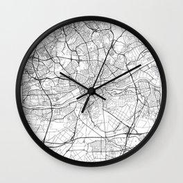 Frankfurt Map White Wall Clock