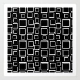 Silver Squares On Black Art Print