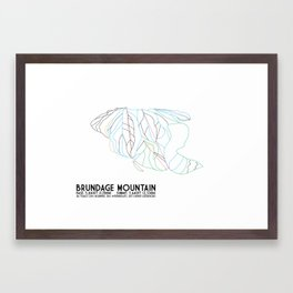 Brundage Mountain, ID - Minimalist Trial Art Framed Art Print