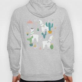 Summer Llamas on Pink Hoodie