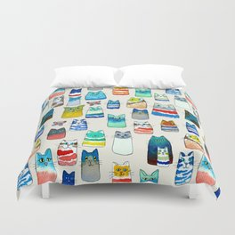 Lots of Watercolor Kitty Cats Duvet Cover