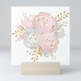 Roses Gold Glitter Pink by Nature Magick Mini Art Print
