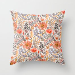 Coral Pink, Red and Lilac Art Nouveau Floral Throw Pillow